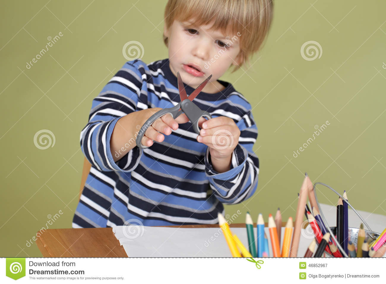 Kids Arts And Crafts Activity Child Learning To Cut With