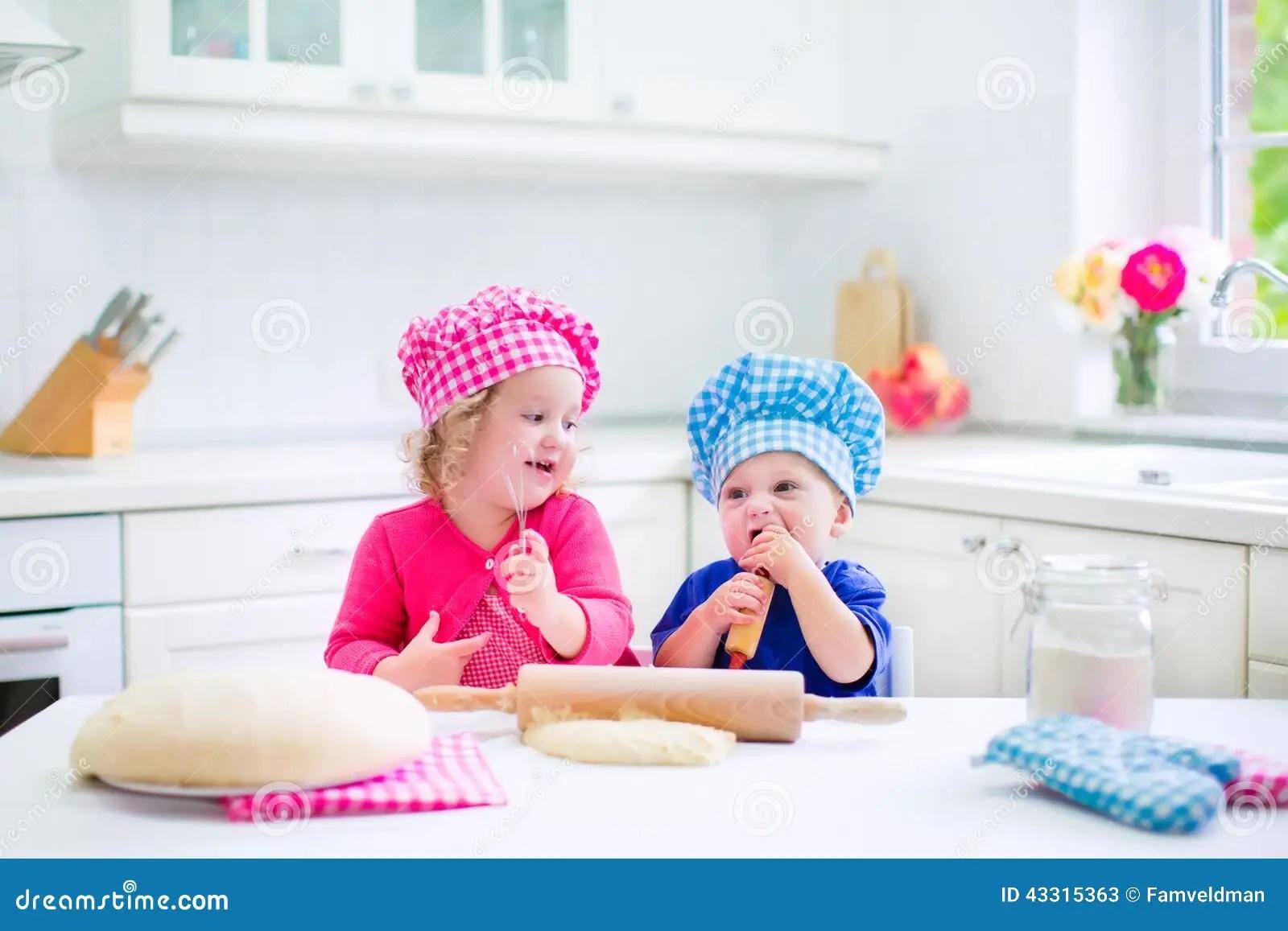 Kids Baking Pie Stock Photo
