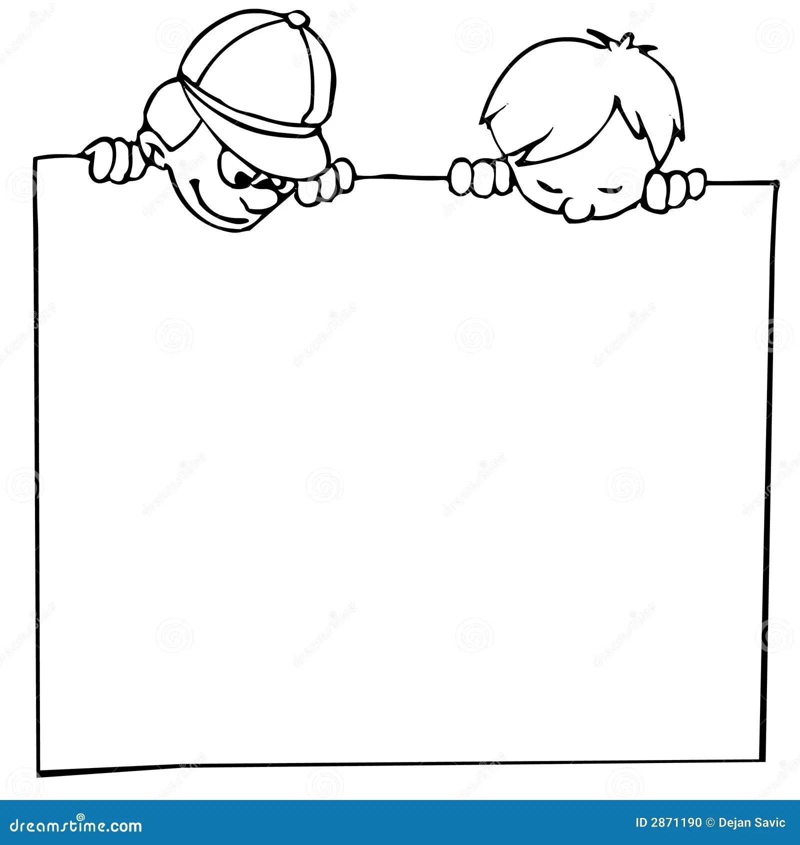 Kids And Banner Stock Vector Image Of Funny Menu Peek