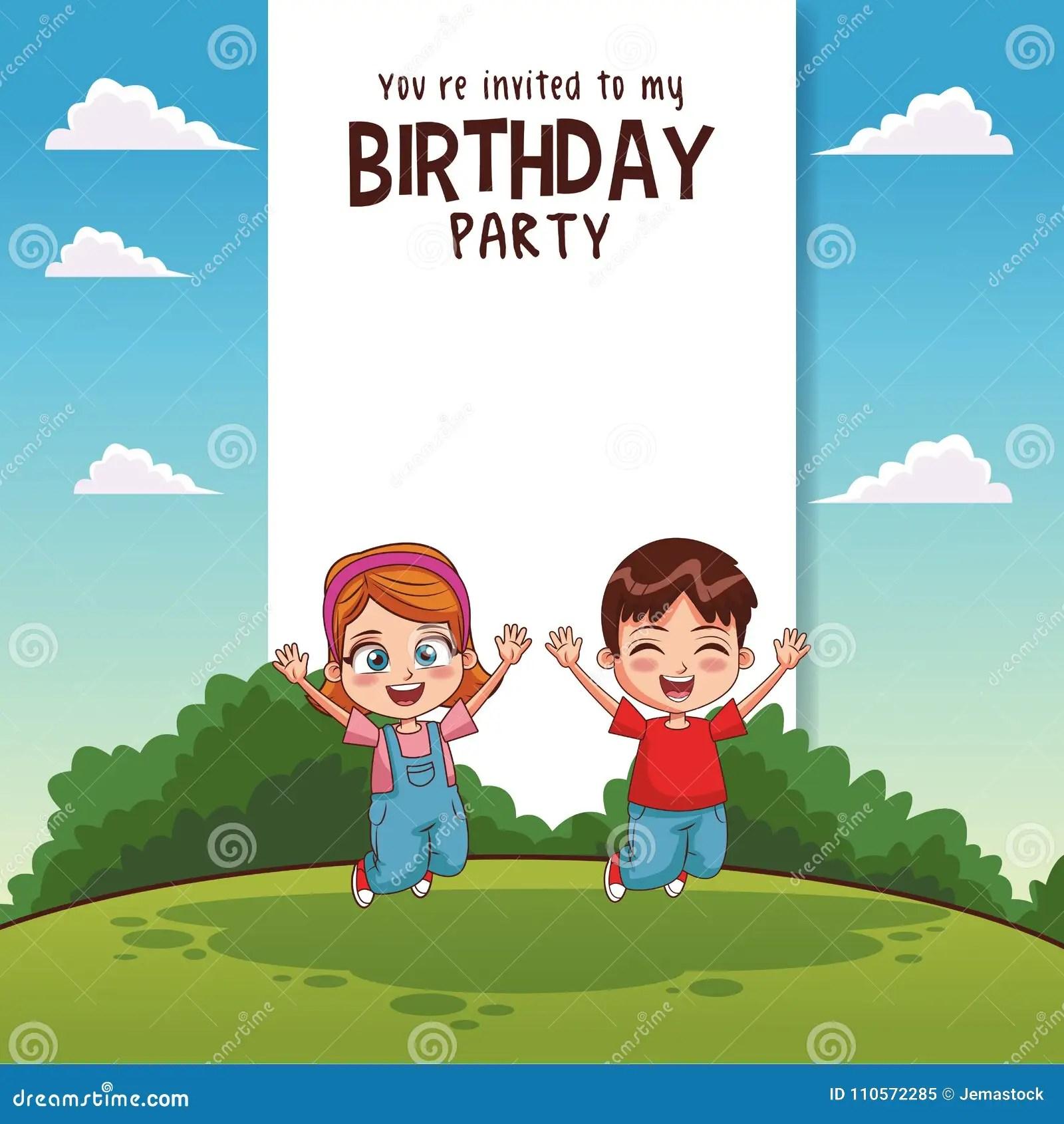 https www dreamstime com kids birthday party card invitation kids birthday party card invitation vector illustration graphic design image110572285