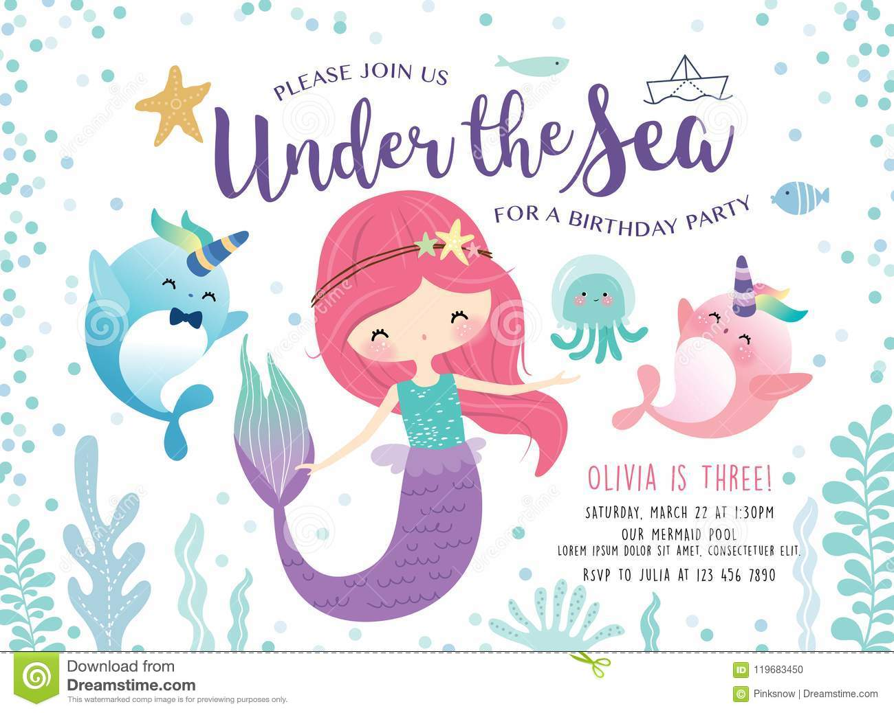 https www dreamstime com kids birthday party invitation card cute little mermaid marine life kids under sea birthday party invitation card image119683450
