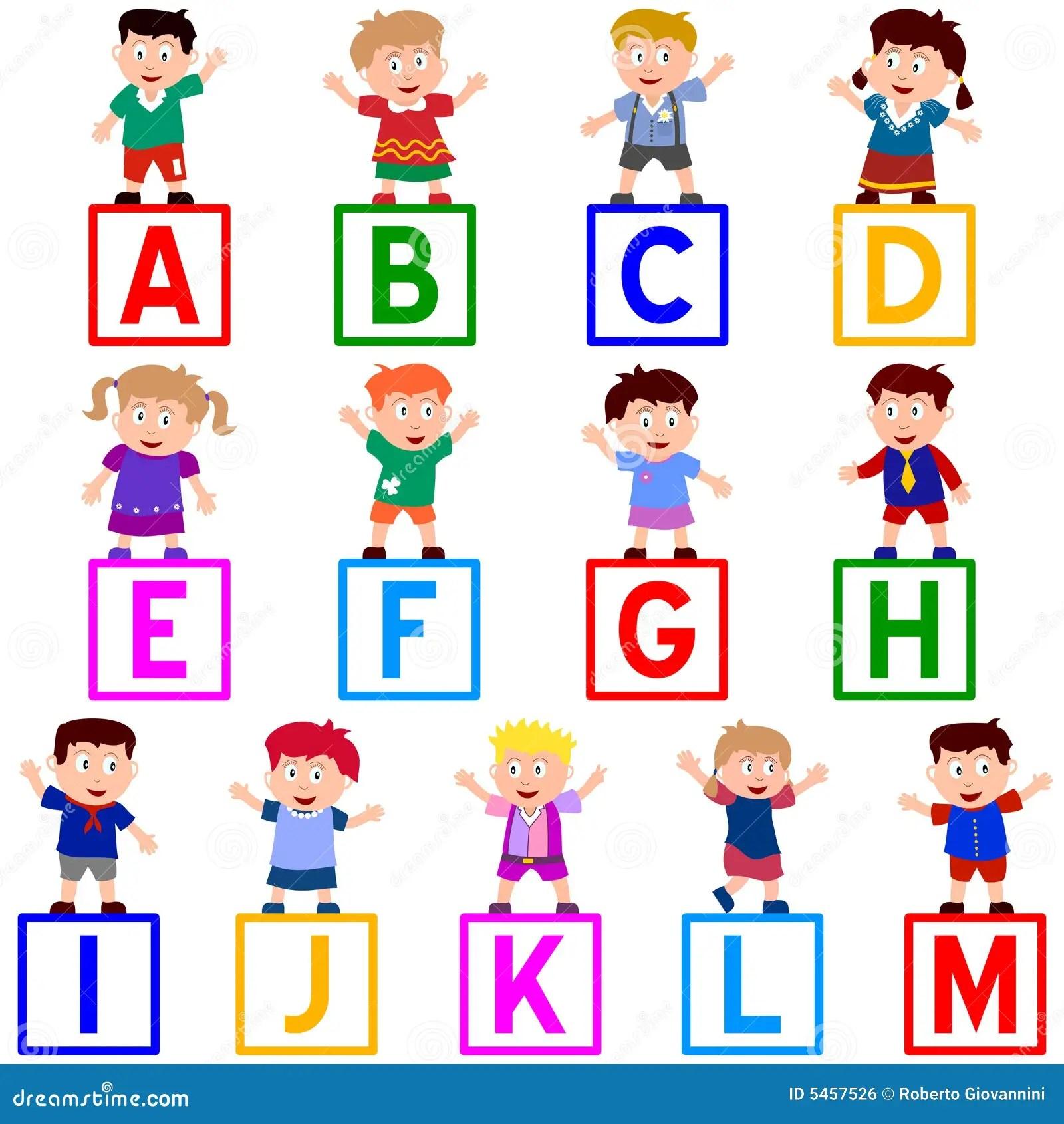 Kids Amp Blocks A M Stock Vector Illustration Of Cute