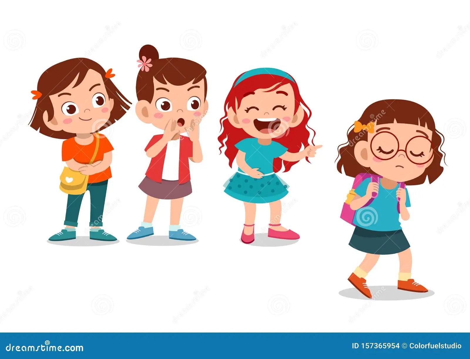 Kids Bullying At School Vector Illustration Stock