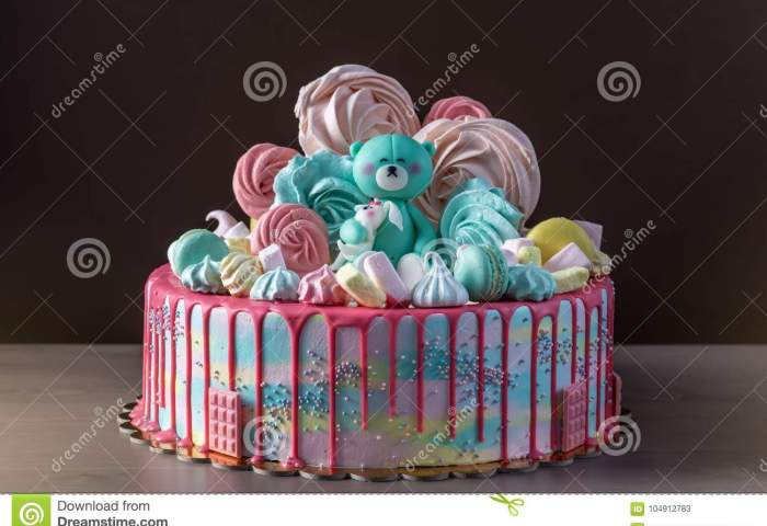Kids Cake Decorated With Teddy Bear And Colorful Meringues