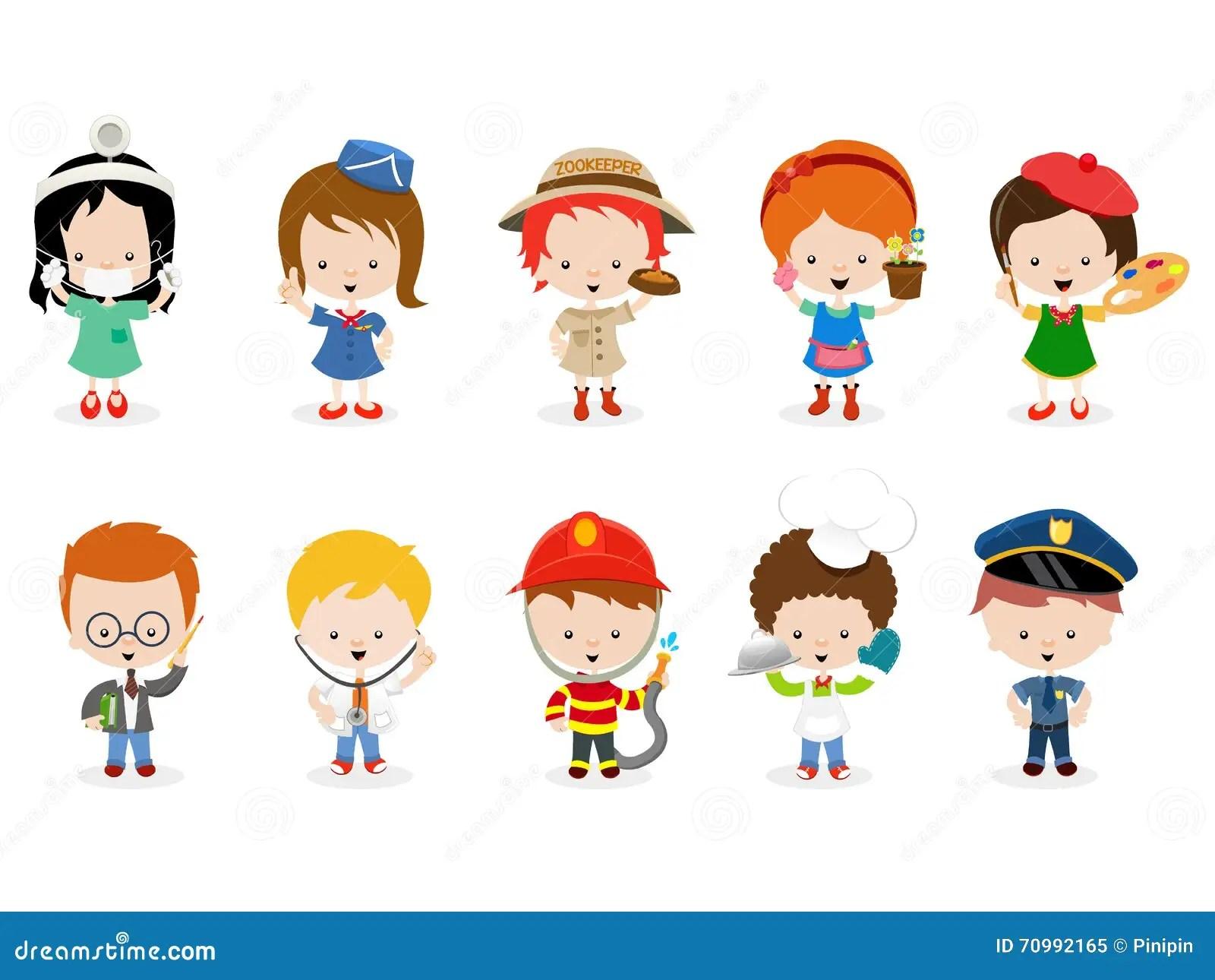 Kids Career Set Stock Vector Illustration Of Group