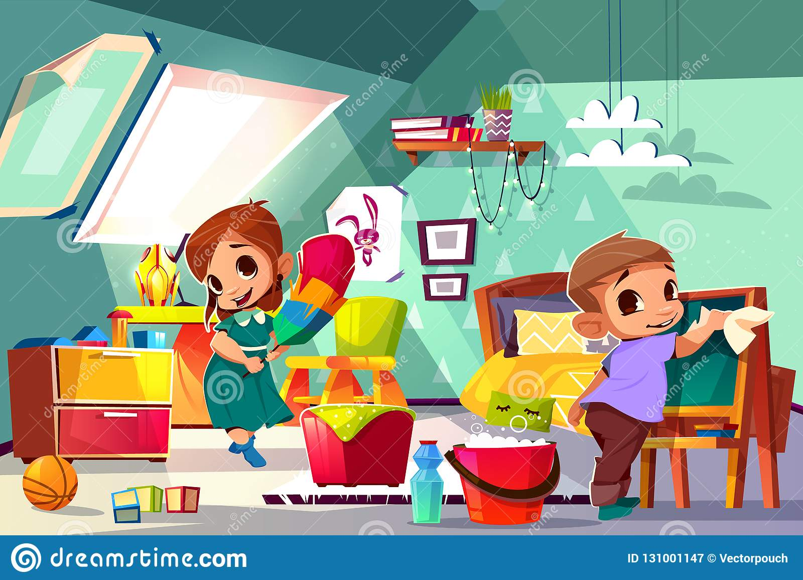 Children Cleaning Their Room Stock Illustrations 7
