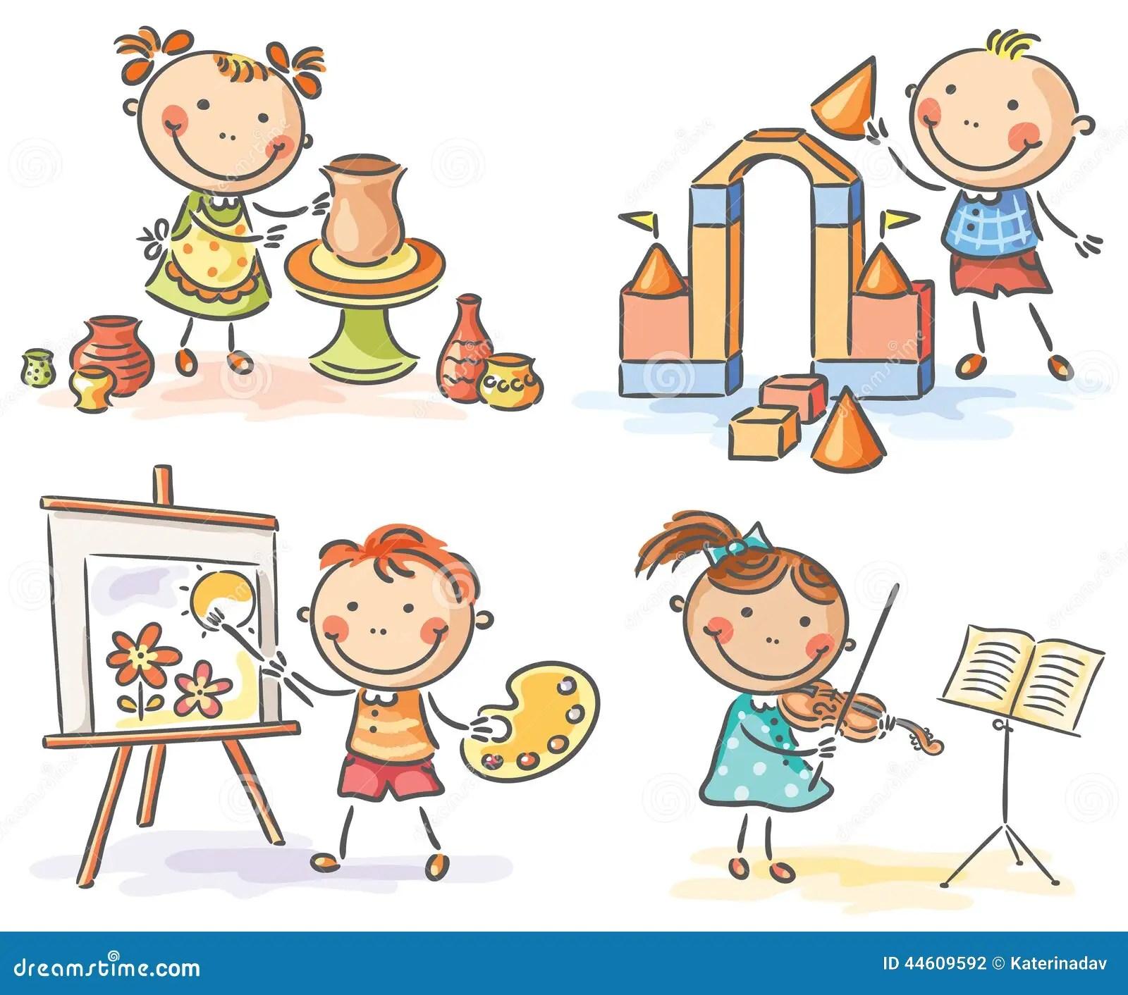 Kids In Different Creative Activities Stock Vector