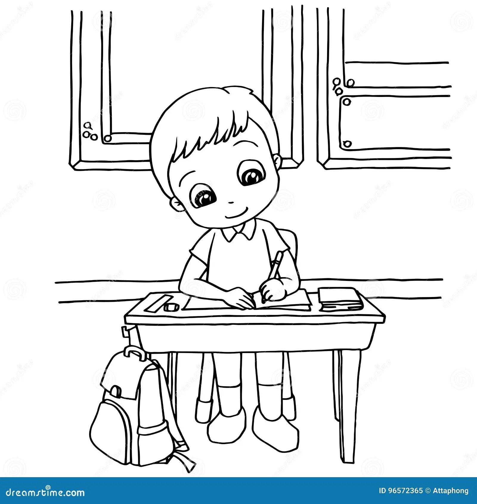 Kids Do Homework In Class Cartoon Coloring Page Vector Stock Vector