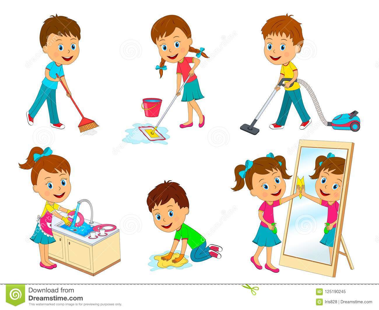 Kids Doing Chores Stock Vector Illustration Of Chores
