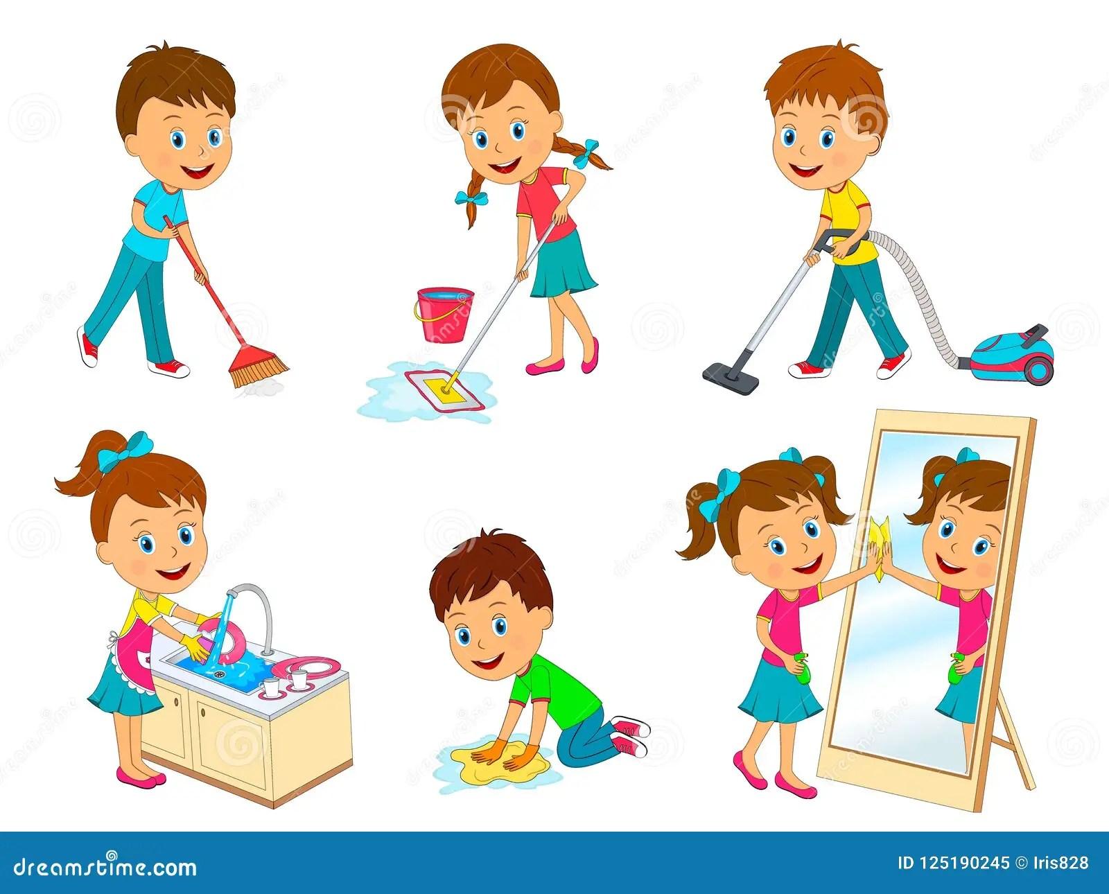 Kids Doing Chores Stock Vector Illustration Of Children