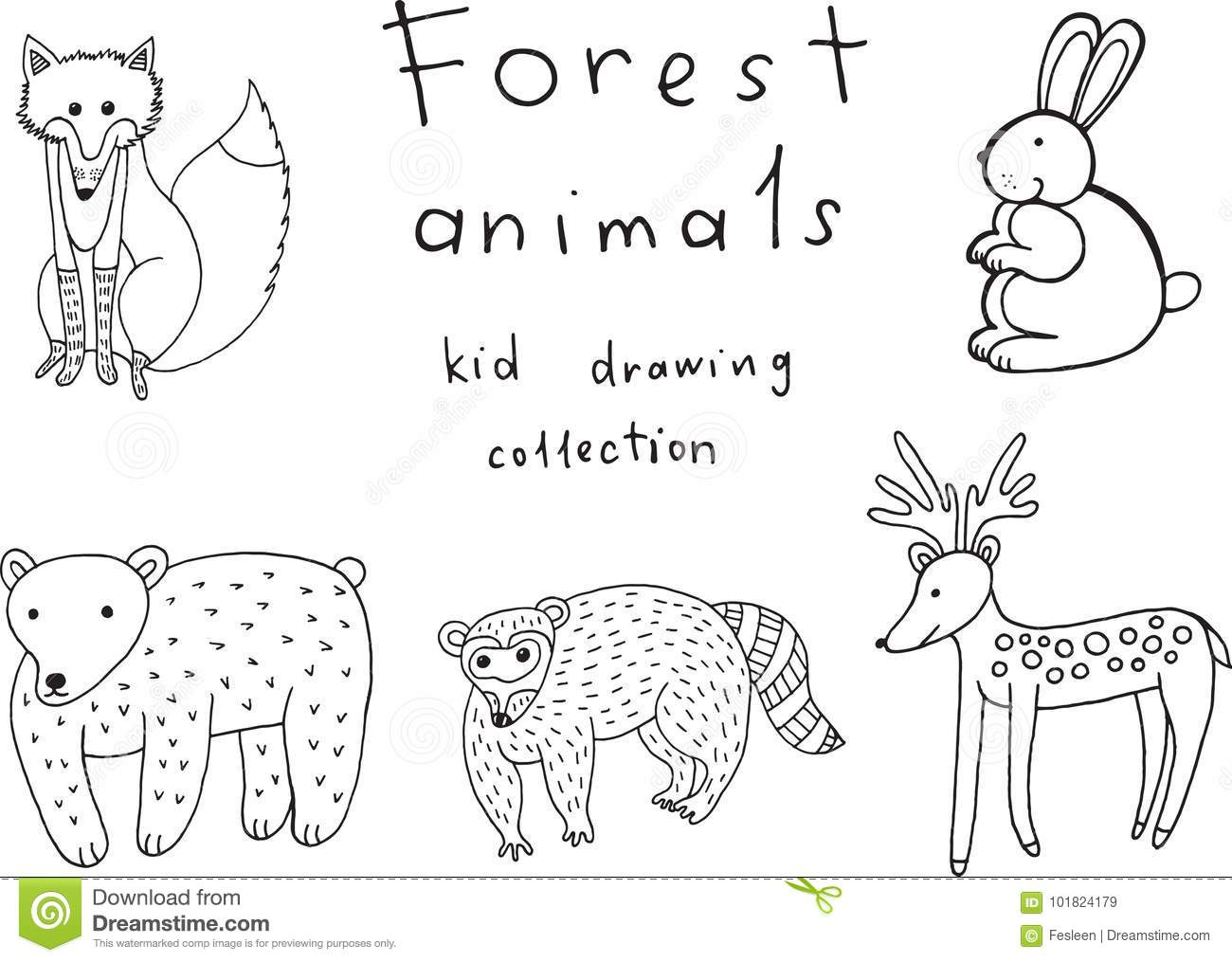 Kids Drawing Of Animals Doodle Collection Of Funny