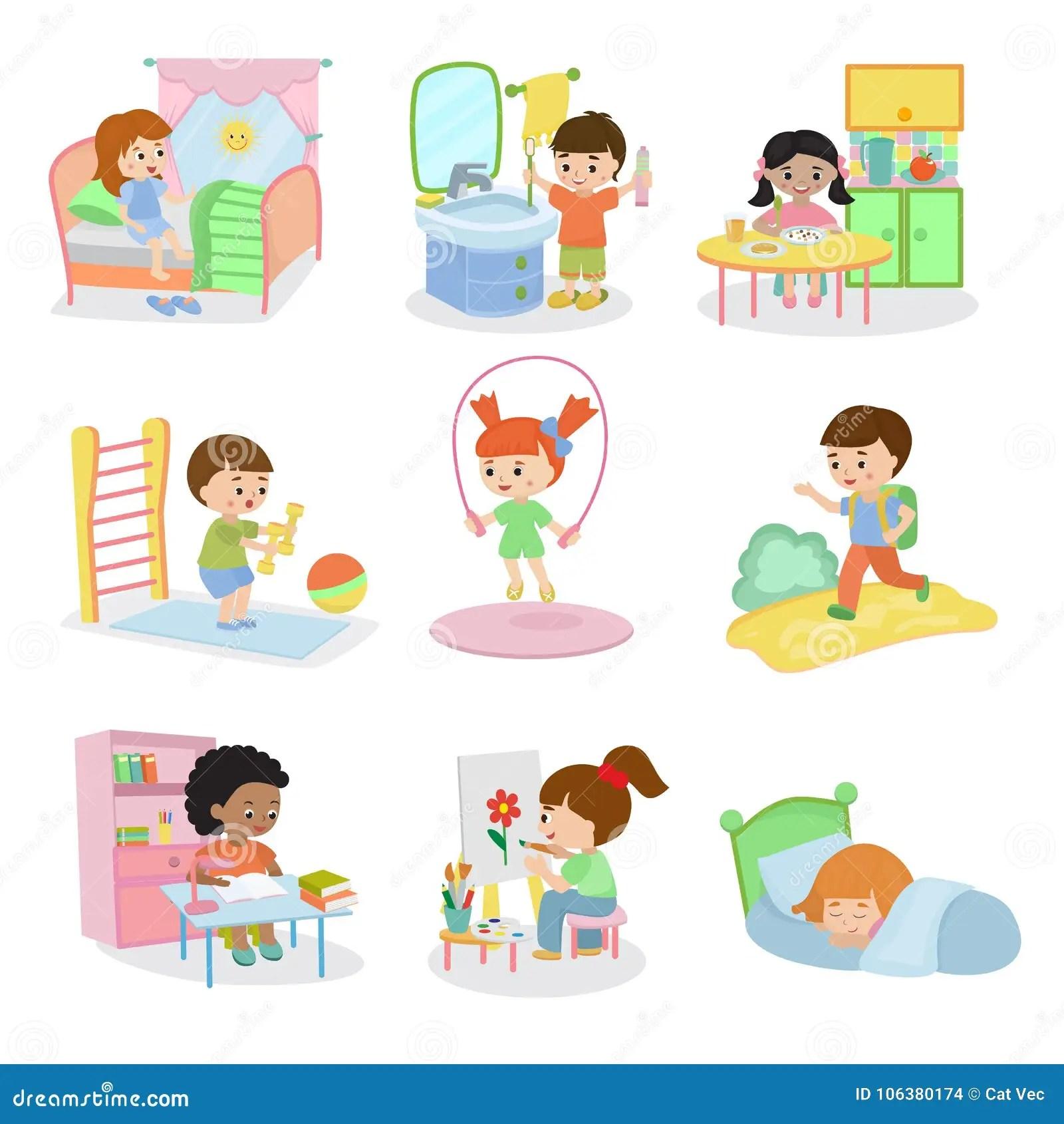 Kids Everyday Activities Vector Set Children Daily