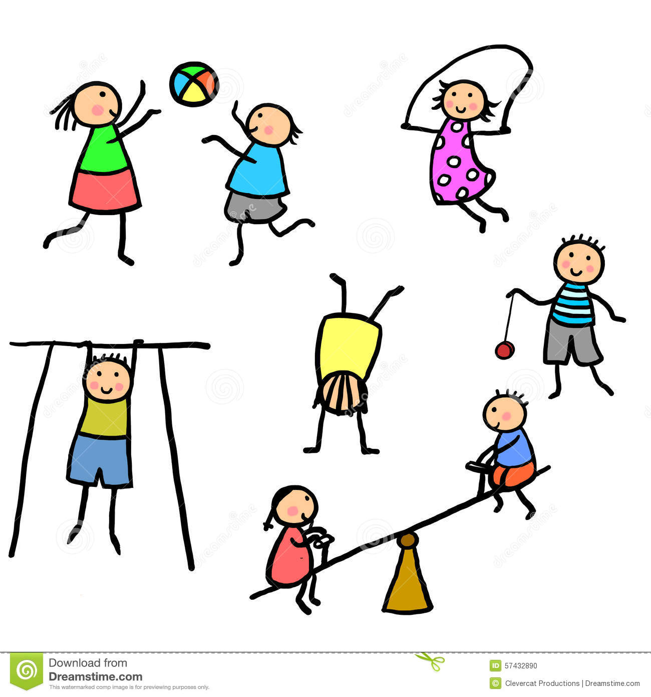 Kids Exercising And Playing Illustration Stock