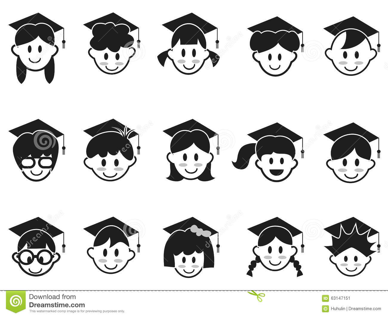 Kids Face With Graduation Cap Icons Stock Vector