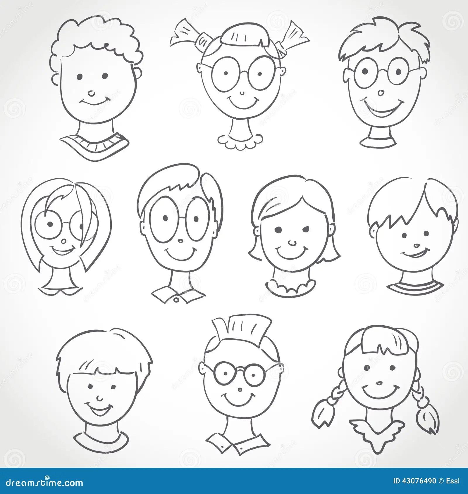 Kids Face Set Sketch Stock Vector