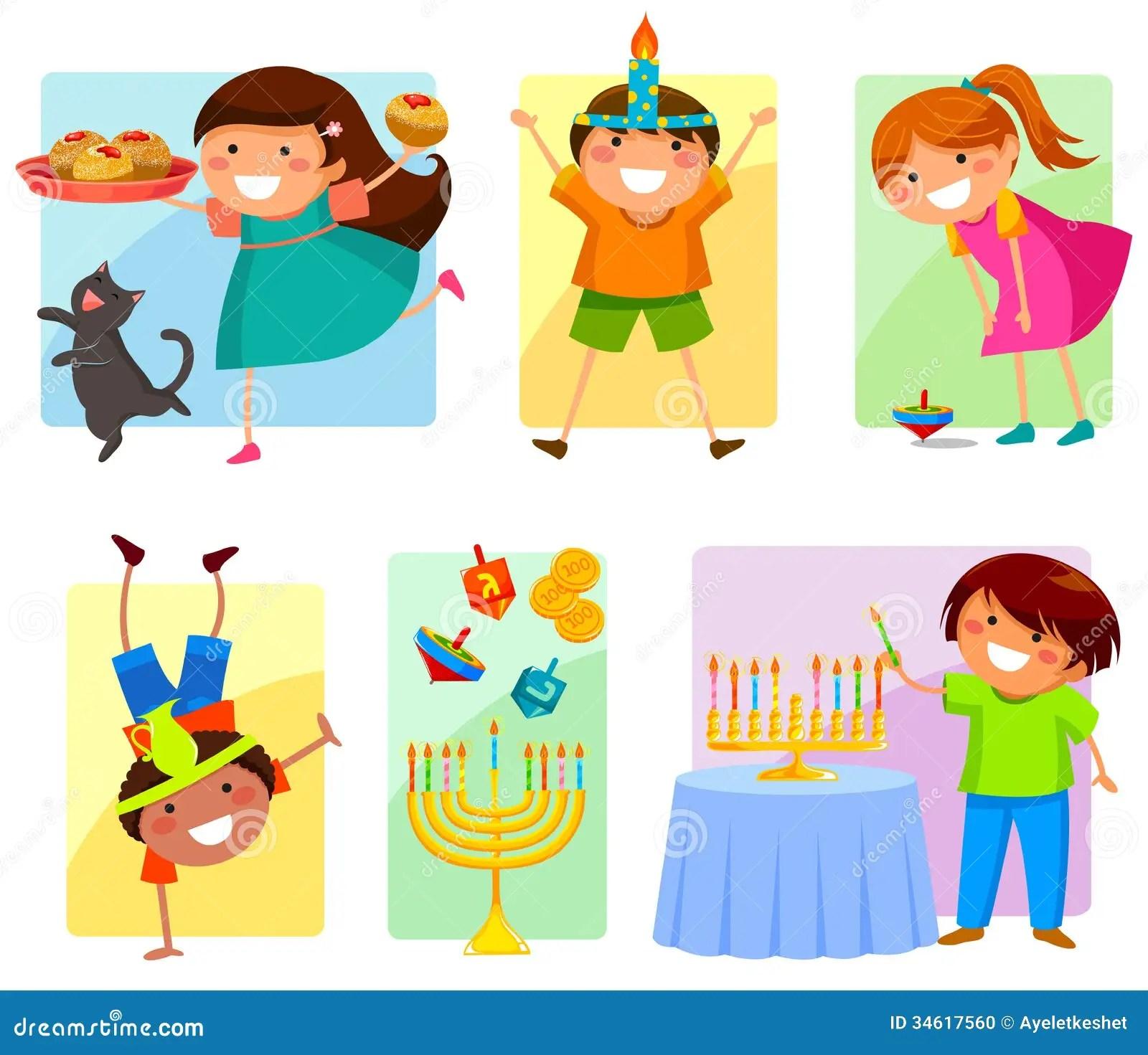 Kids On Hanukkah Stock Vector Illustration Of Coins