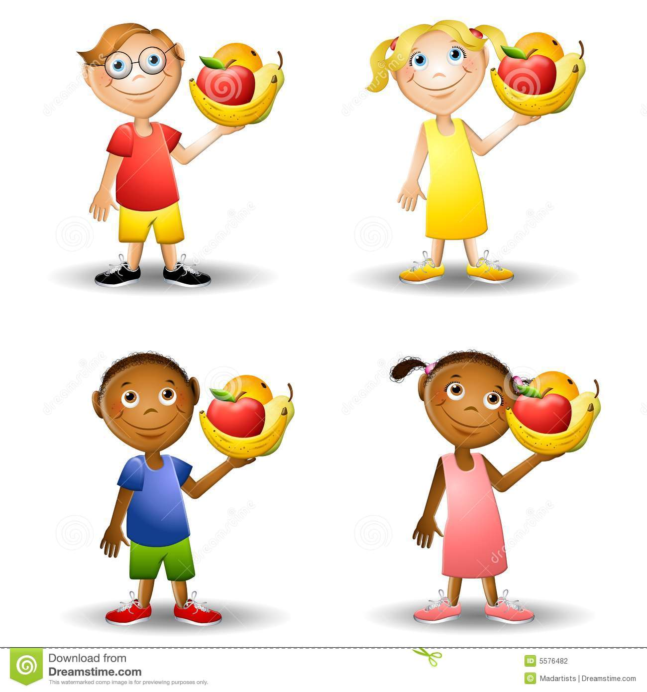 Kids Holding Healthy Foods 2 Stock Photography