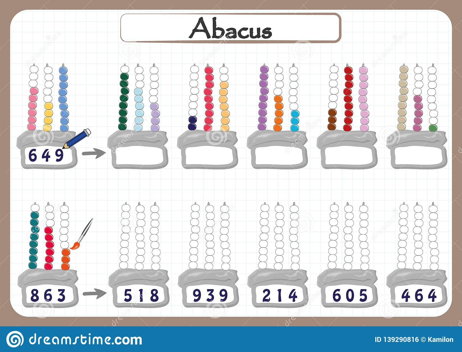 Abacus For Numbers Up To 999 Math Worksheet For Kids