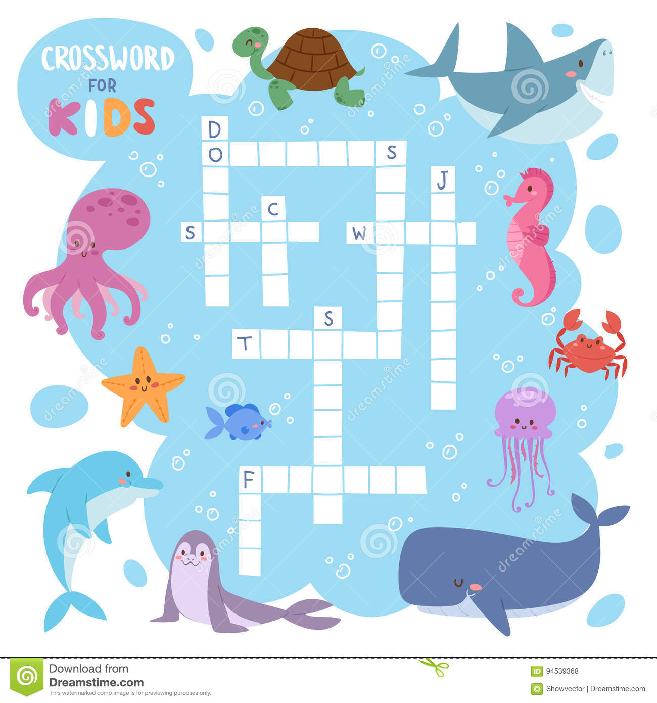 Sea Animal Puzzle Crossword Cartoon Vector