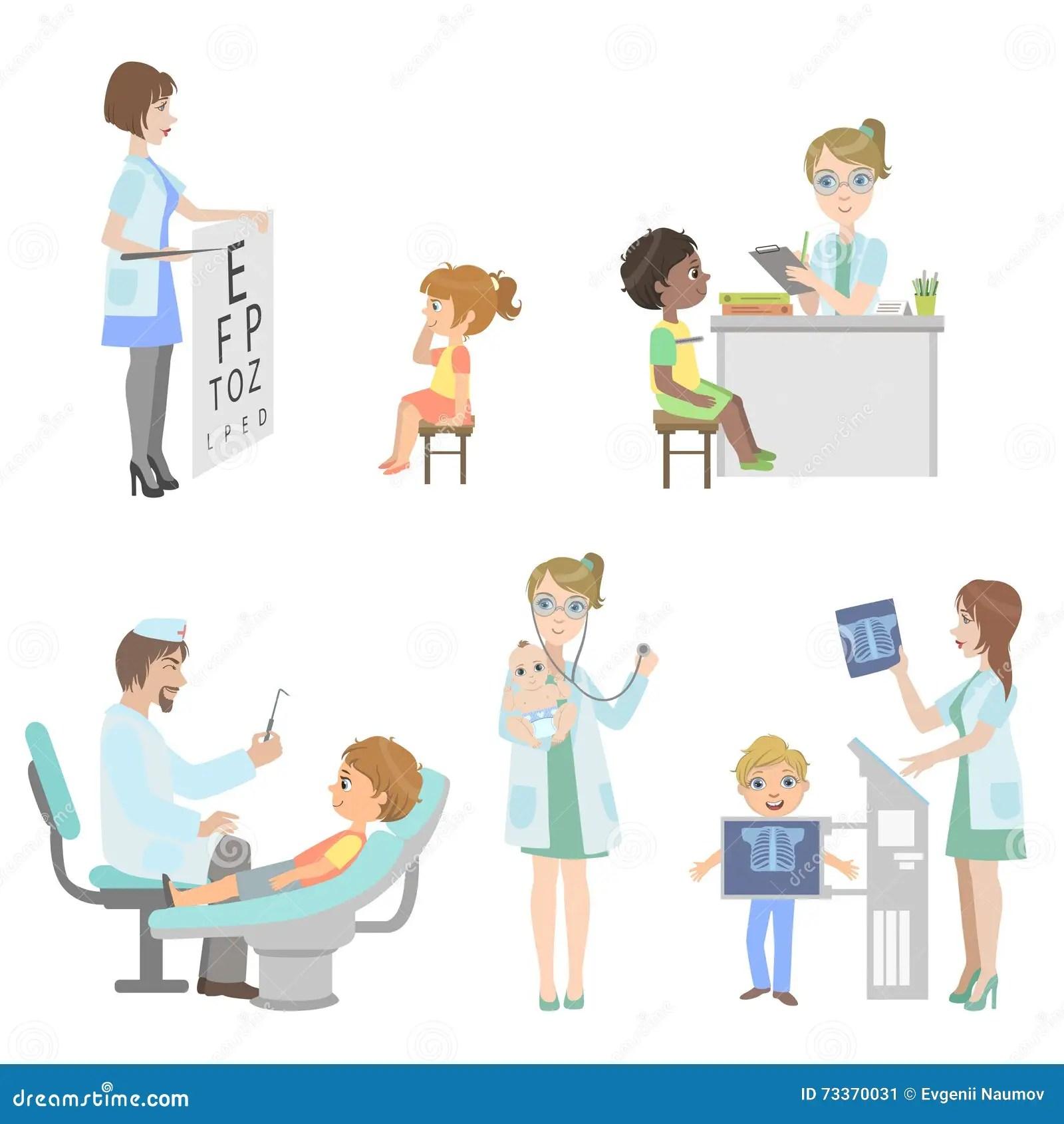 Kids On Medical Checkup Set Stock Vector