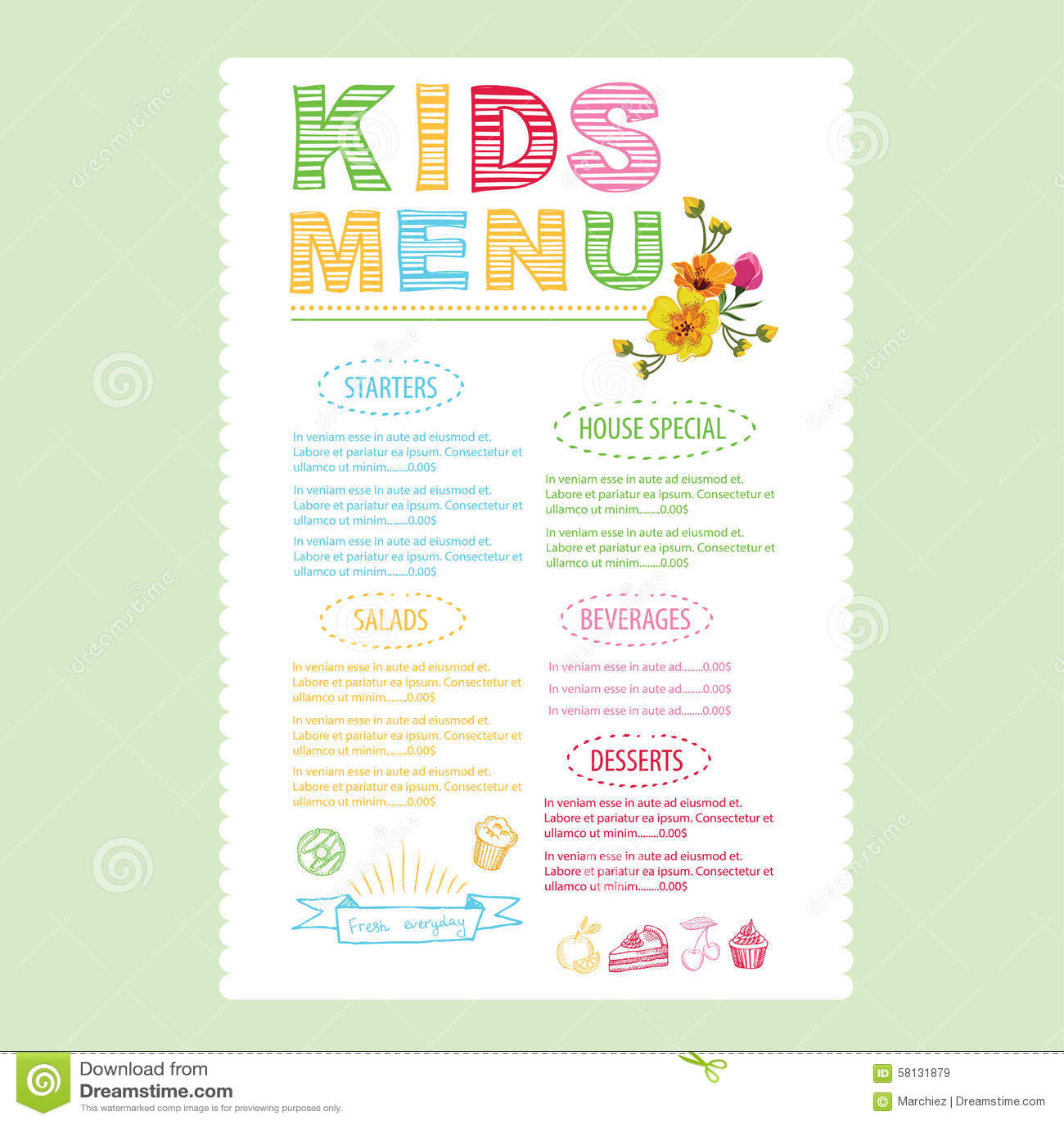 Doc15001600 Menu Templates for Kids Kids Menu Template 87 – Kids Menu Templates