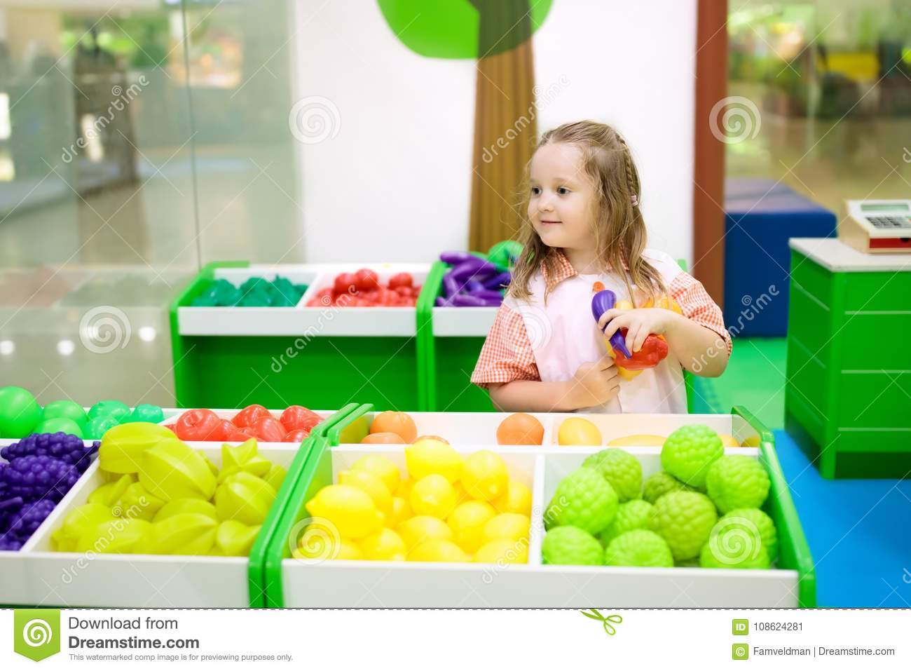 Kids Play At Toy Supermarket Or Grocery Store Stock Image