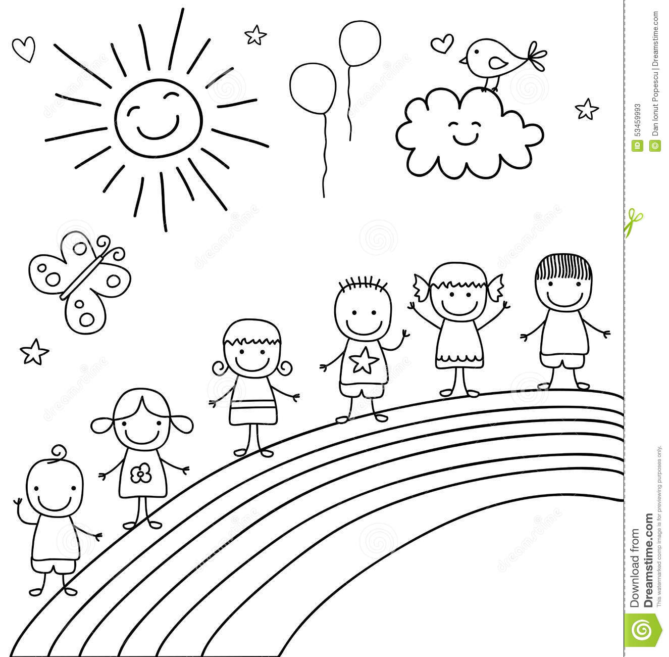 Kids On Rainbow Stock Vector Illustration Of Kindergarten