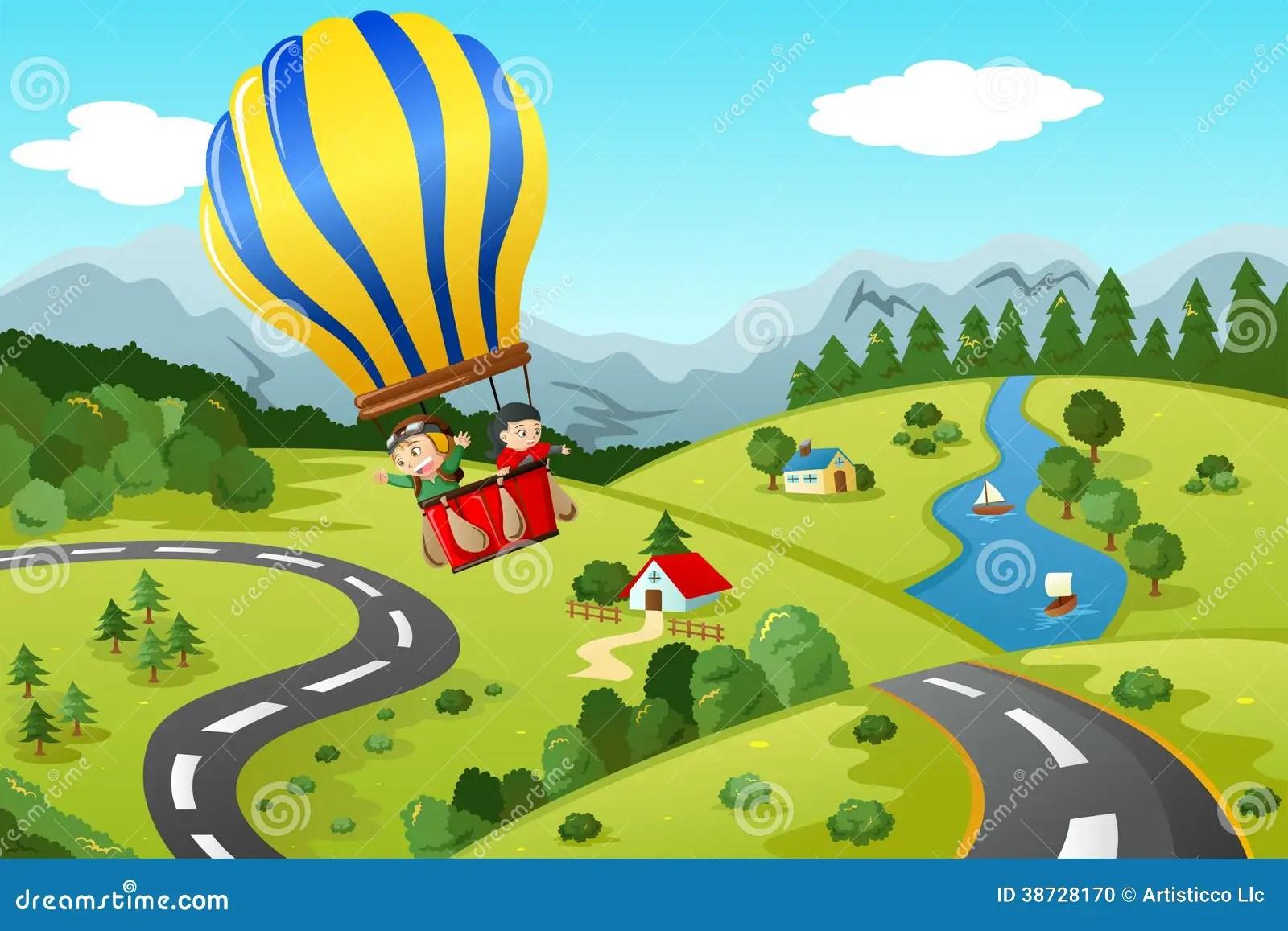 Kids Riding Hot Air Balloon Stock Photo