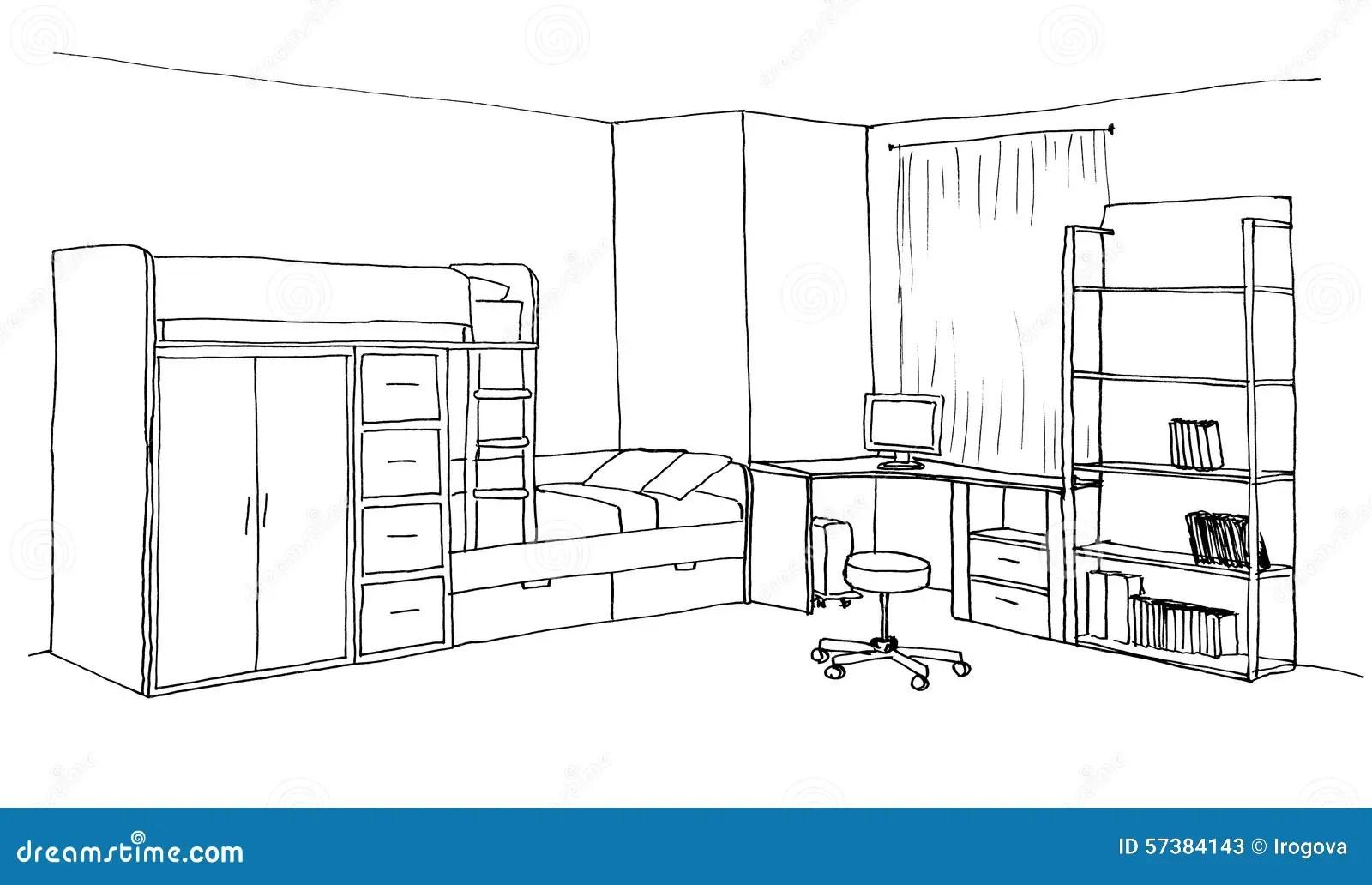 Kids Room Graphical Sketch Stock Illustration