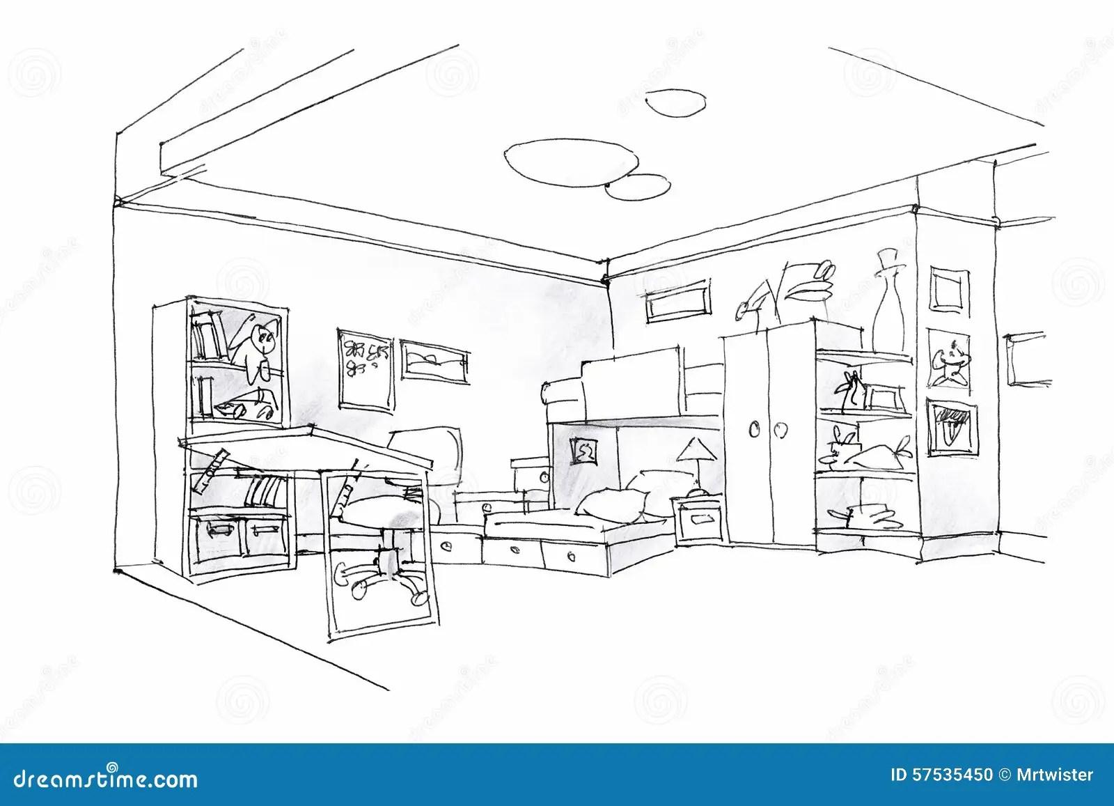 Kids Room Sketch In Black And White Stock Illustration