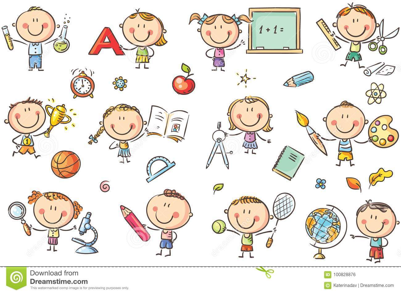 Kids With School Things Stock Vector Illustration Of
