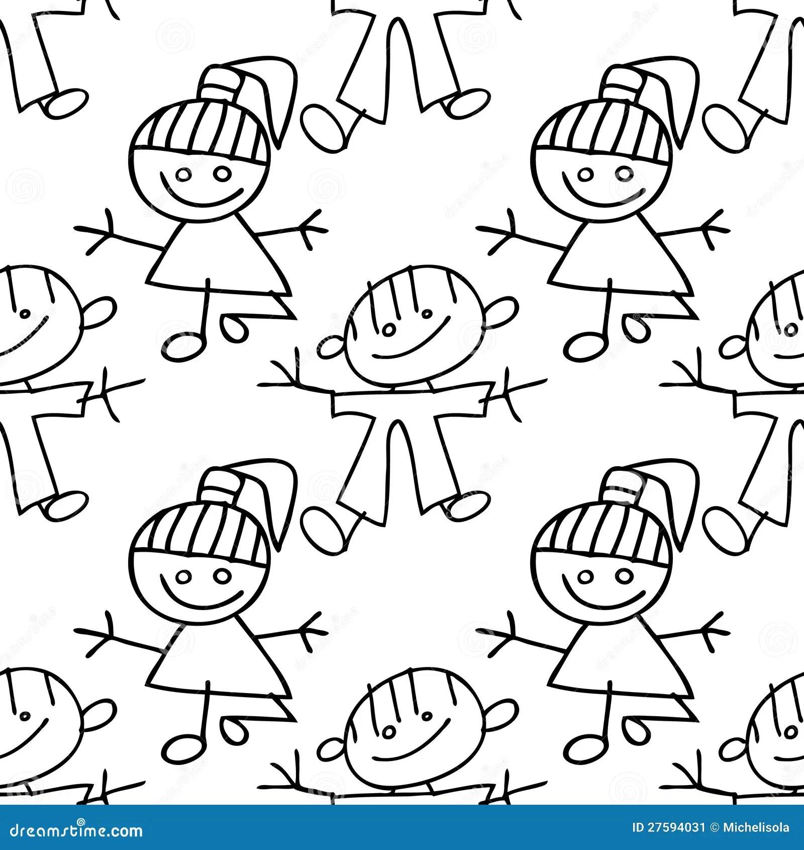 Kids Seamless Pattern Doodle Stock Image