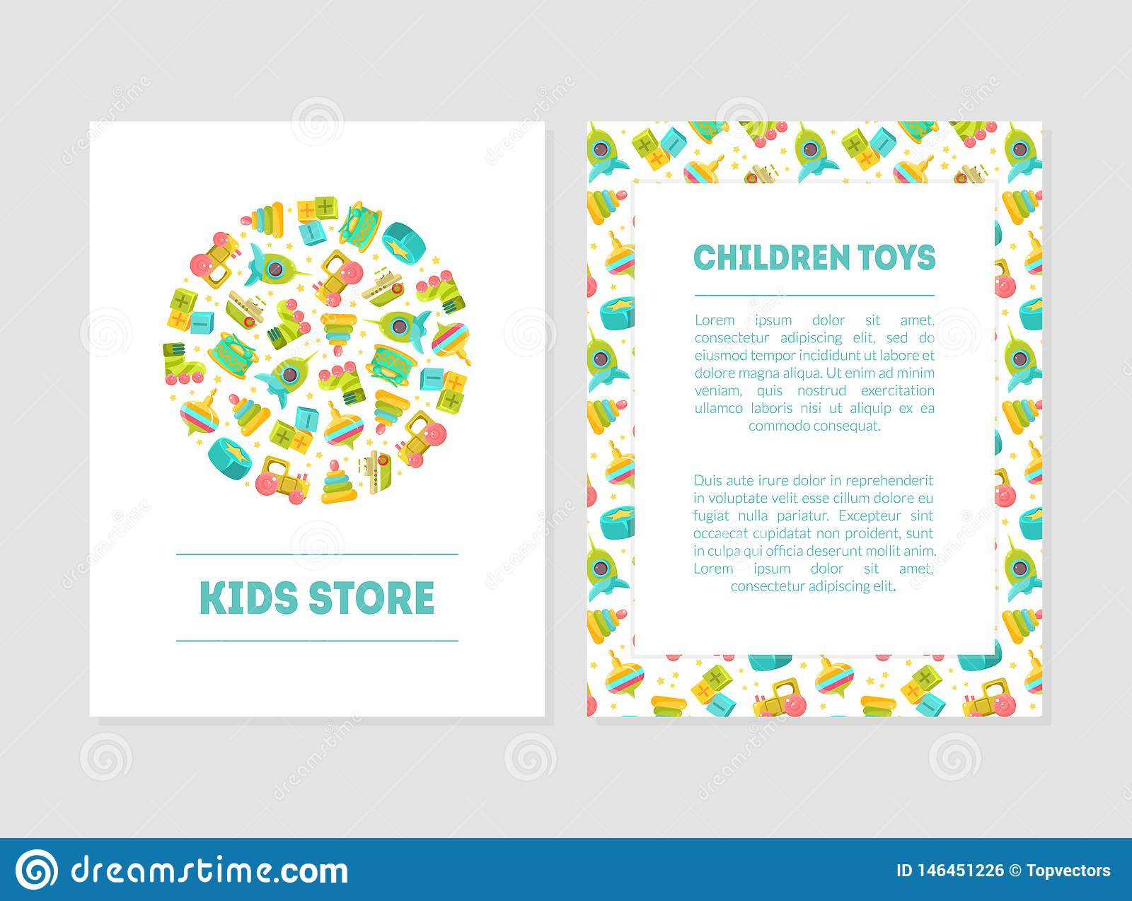 Kids Store Banner Templates With Cute Baby Toys And Place