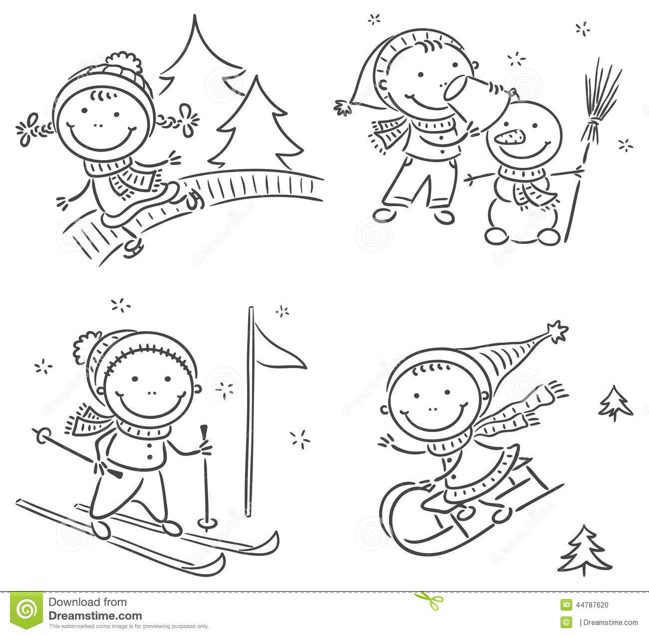 Kids Winter Outdoors Activities Stock Vector