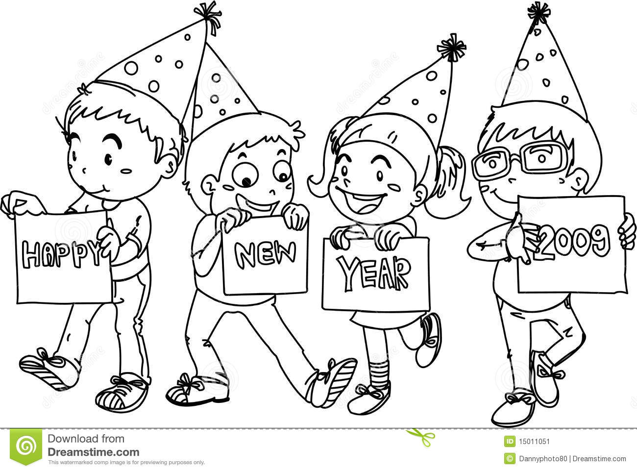 Kids Wishing Happy New Year Stock Vector Illustration Of