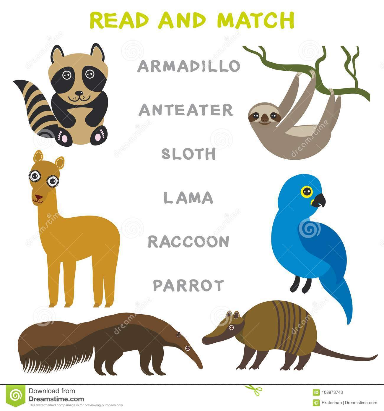 Kids Words Learning Game Worksheet Read And Match Funny Animals Armadillo Anteater Sloth Lama