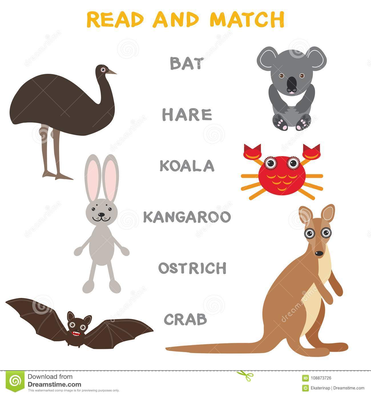 Kids Words Learning Game Worksheet Read And Match Funny