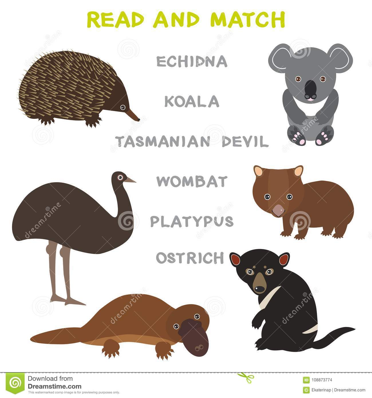 Kids Words Learning Game Worksheet Read And Match Funny Animals Ostrich Echidna Platypus Koala