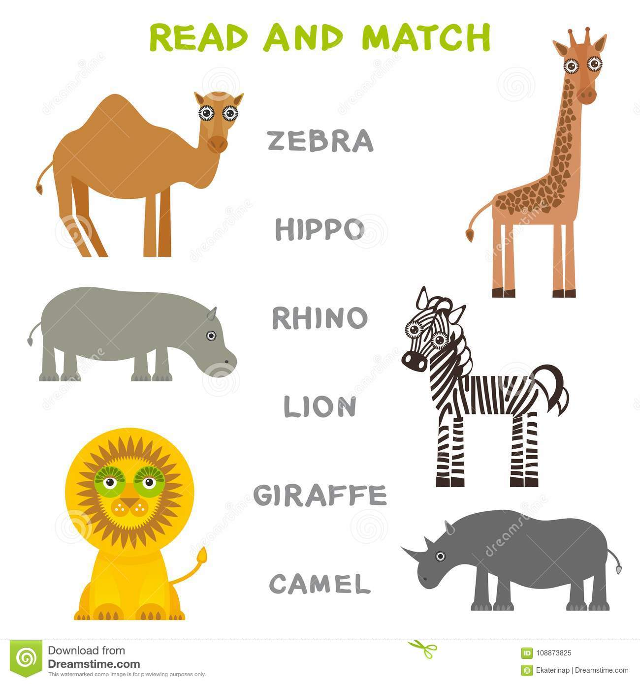 Kids Words Learning Game Worksheet Read And Match Funny Animals Zebra Hippo Rhino Lion Giraffe