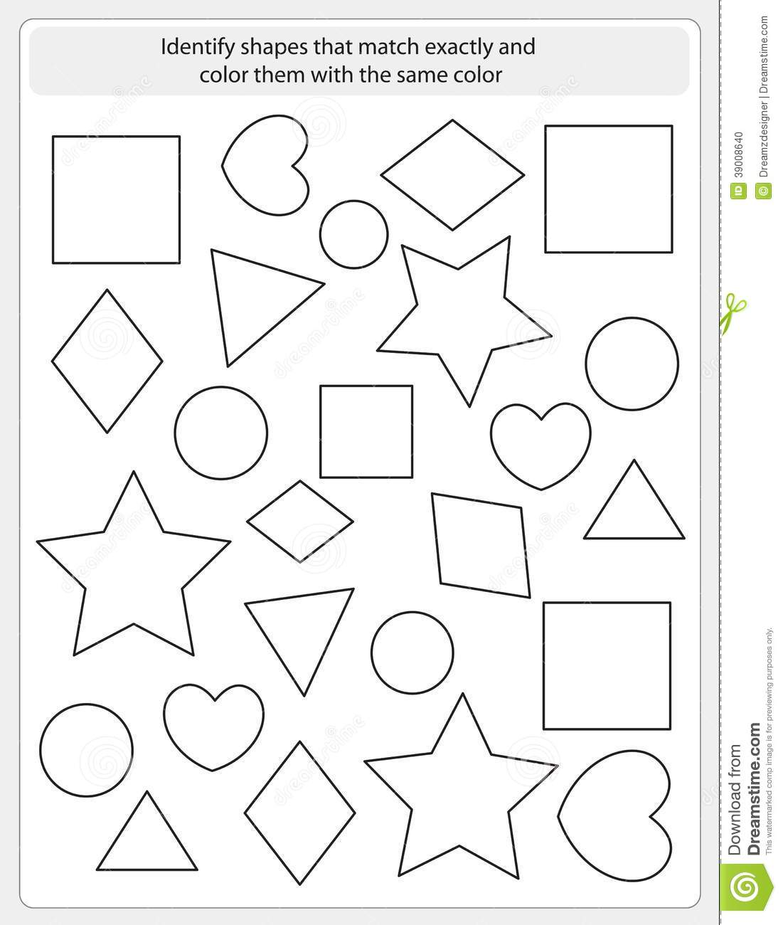 Kids Worksheet Match And Color Stock Vector