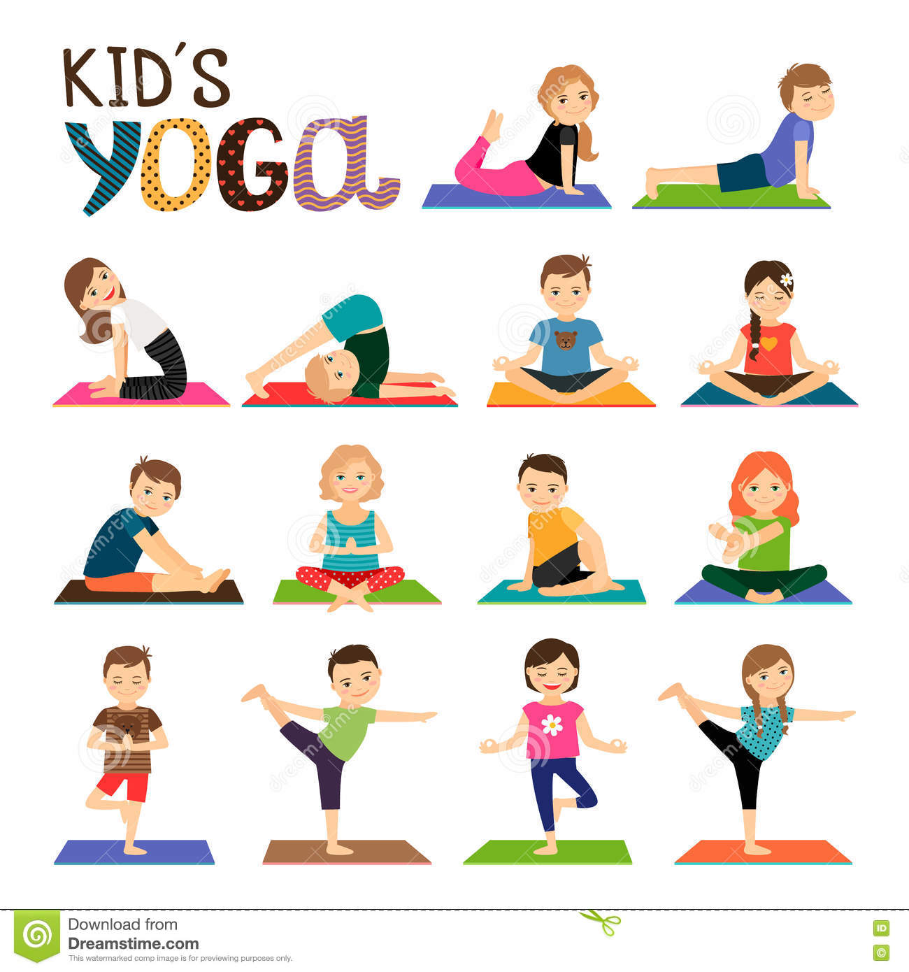 Kids Yoga Icons Set Stock Vector Illustration Of Icon