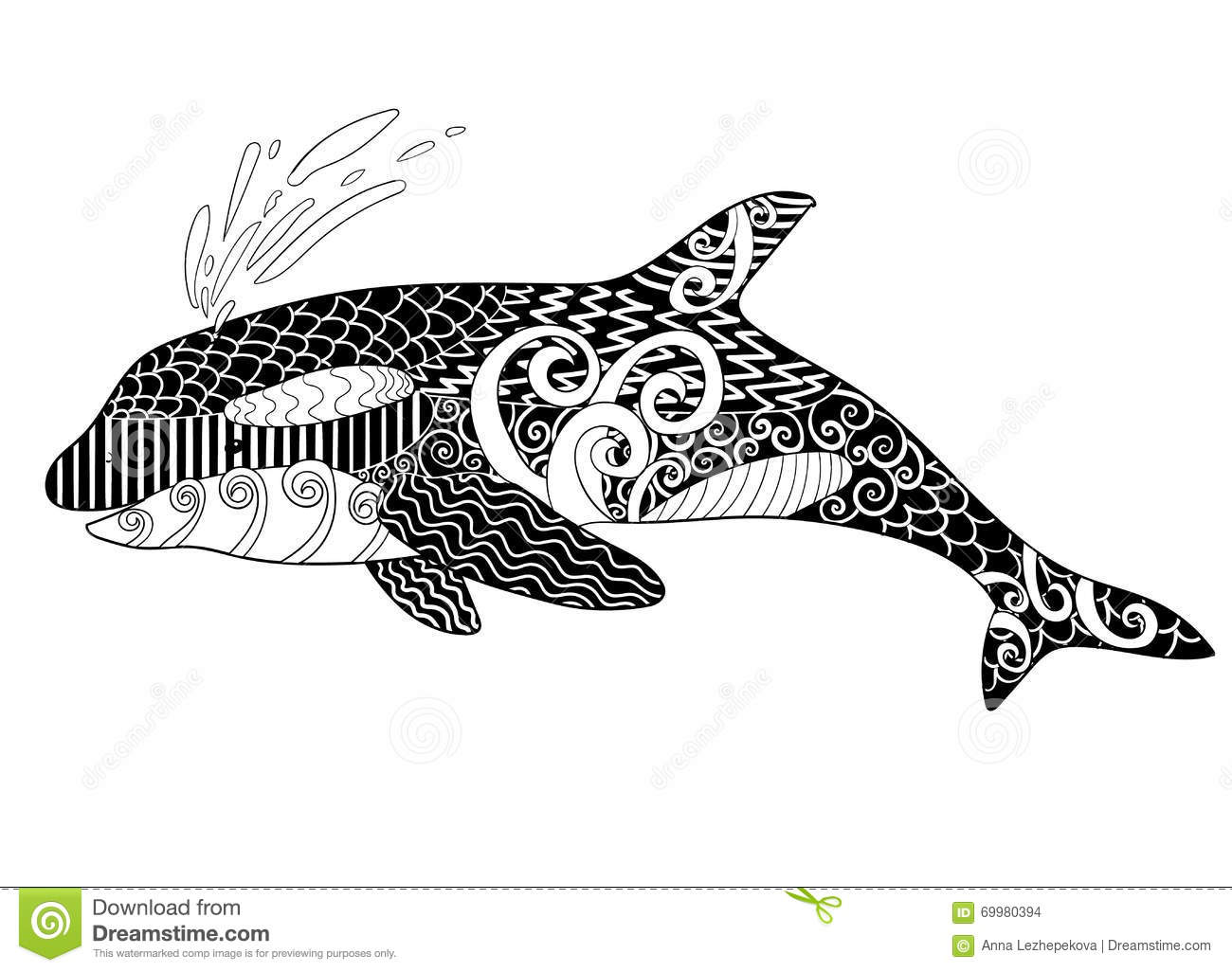 Killer Whale With High Details Stock Vector