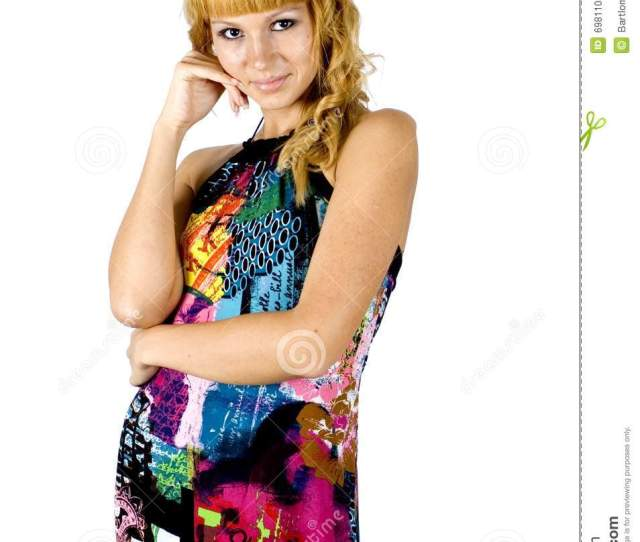 Kind Girl In Colorful Dress