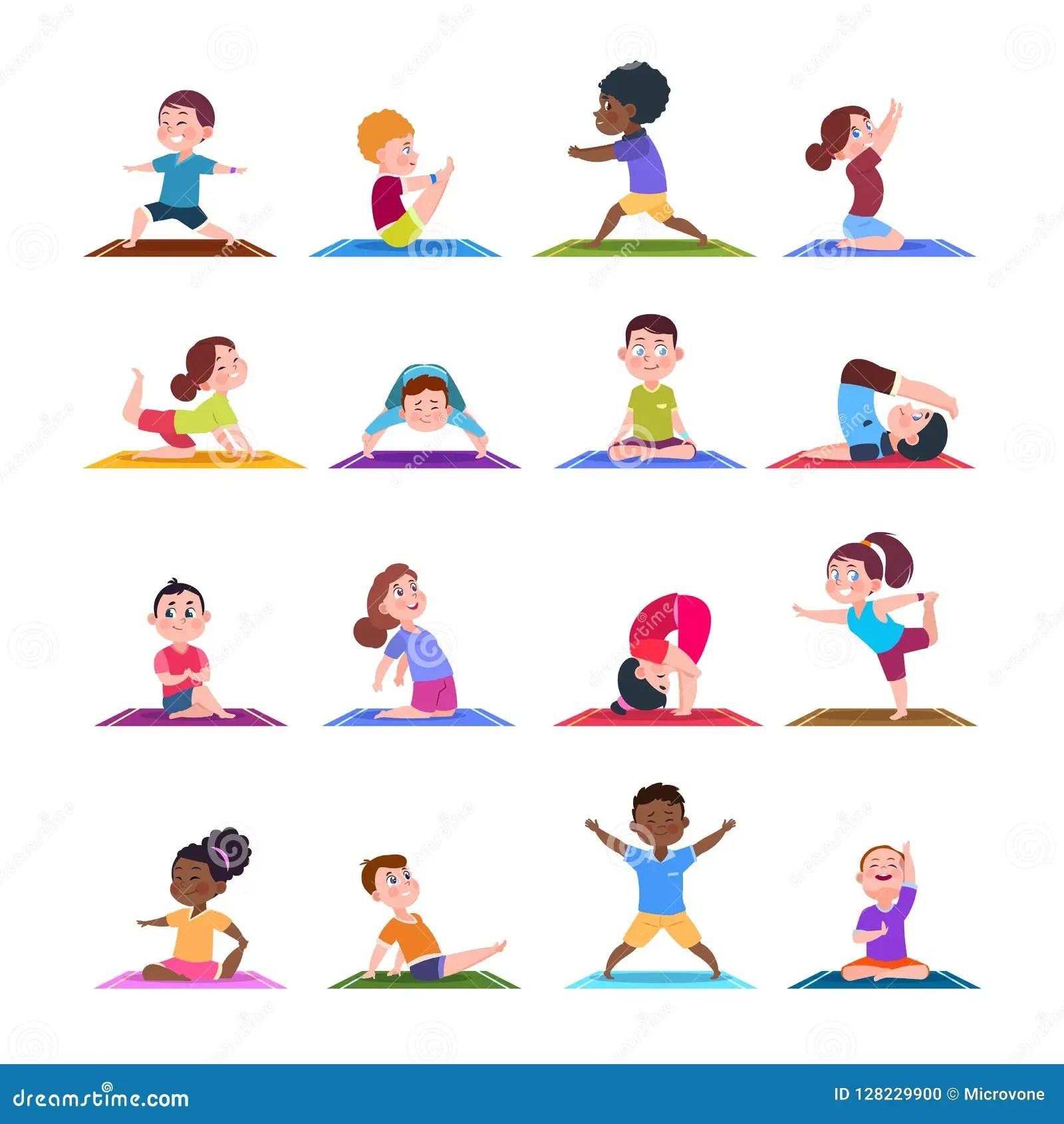 Kinder In Den Yogahaltungen Karikatureignungskinder In
