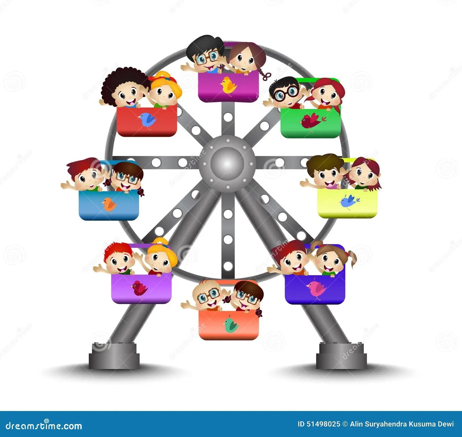 Kinder In Einem Riesenrad Spielen Vektor Abbildung