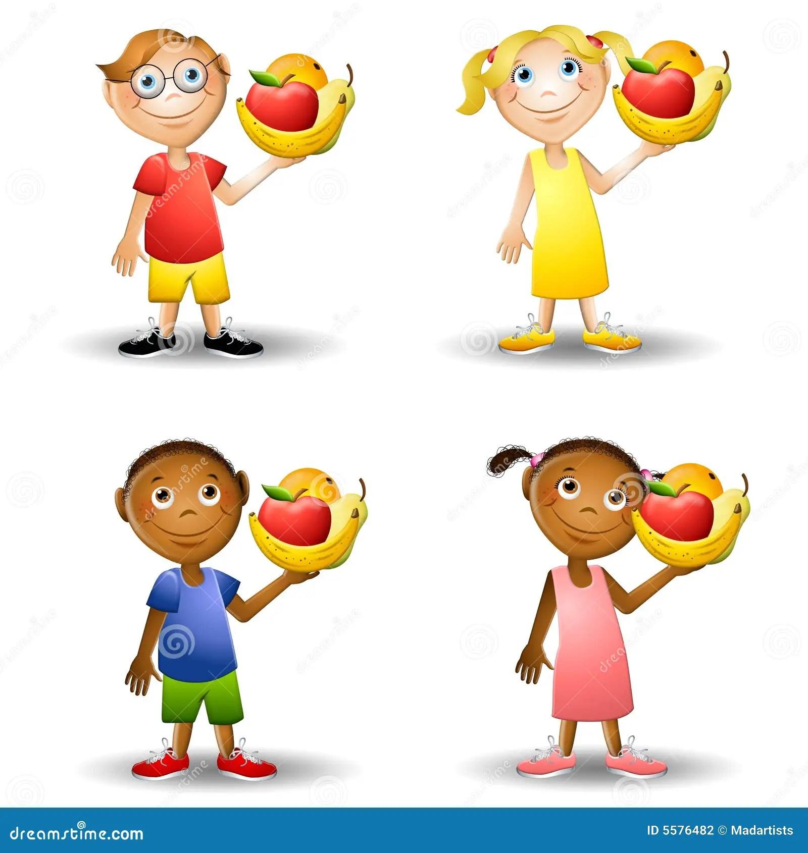 Kinder Gesunde Nahrungsmittel 2 Anhalten Stock