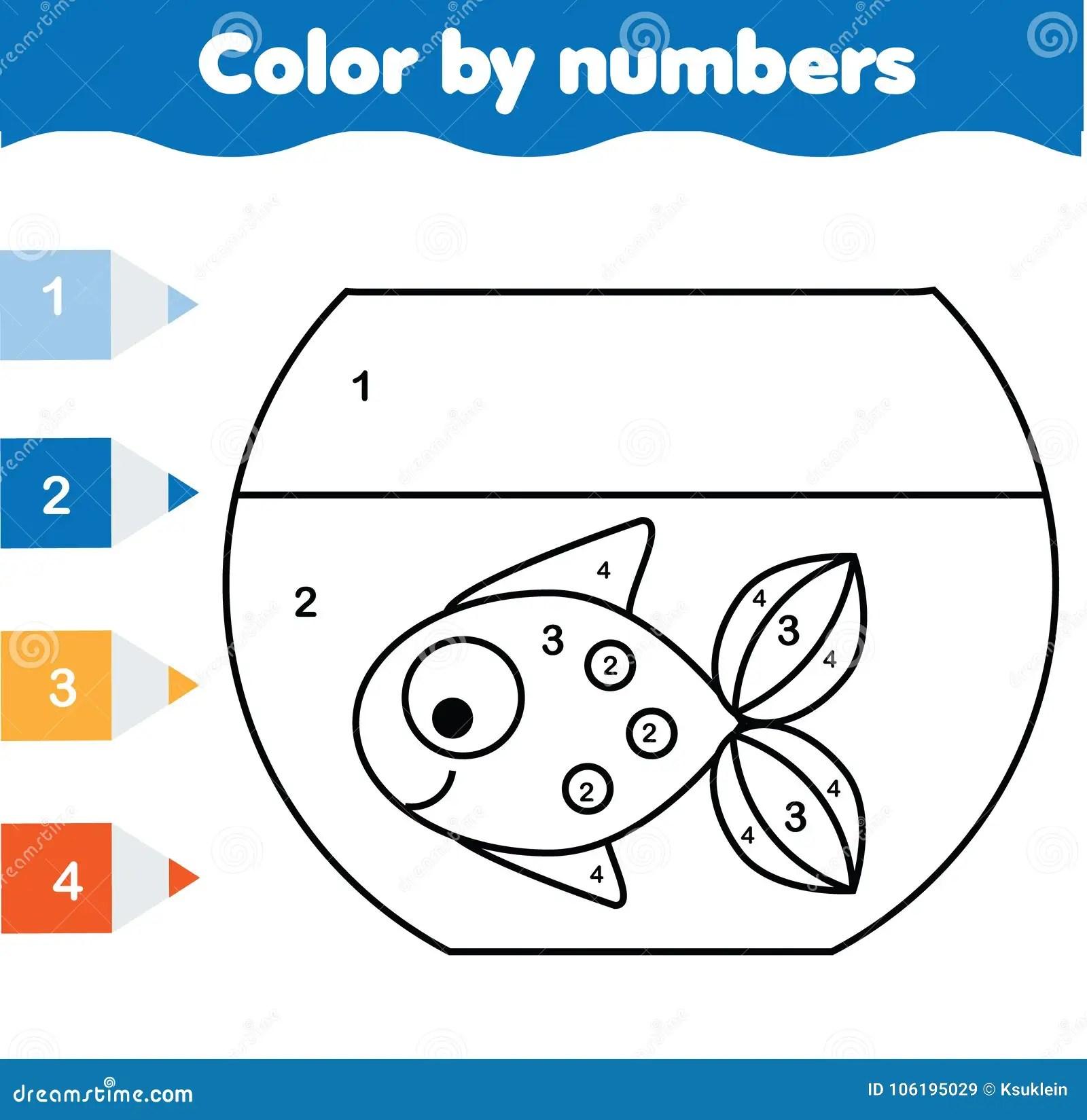 Kinderen Onderwijsspel Kleurende Pagina Met Vissen In