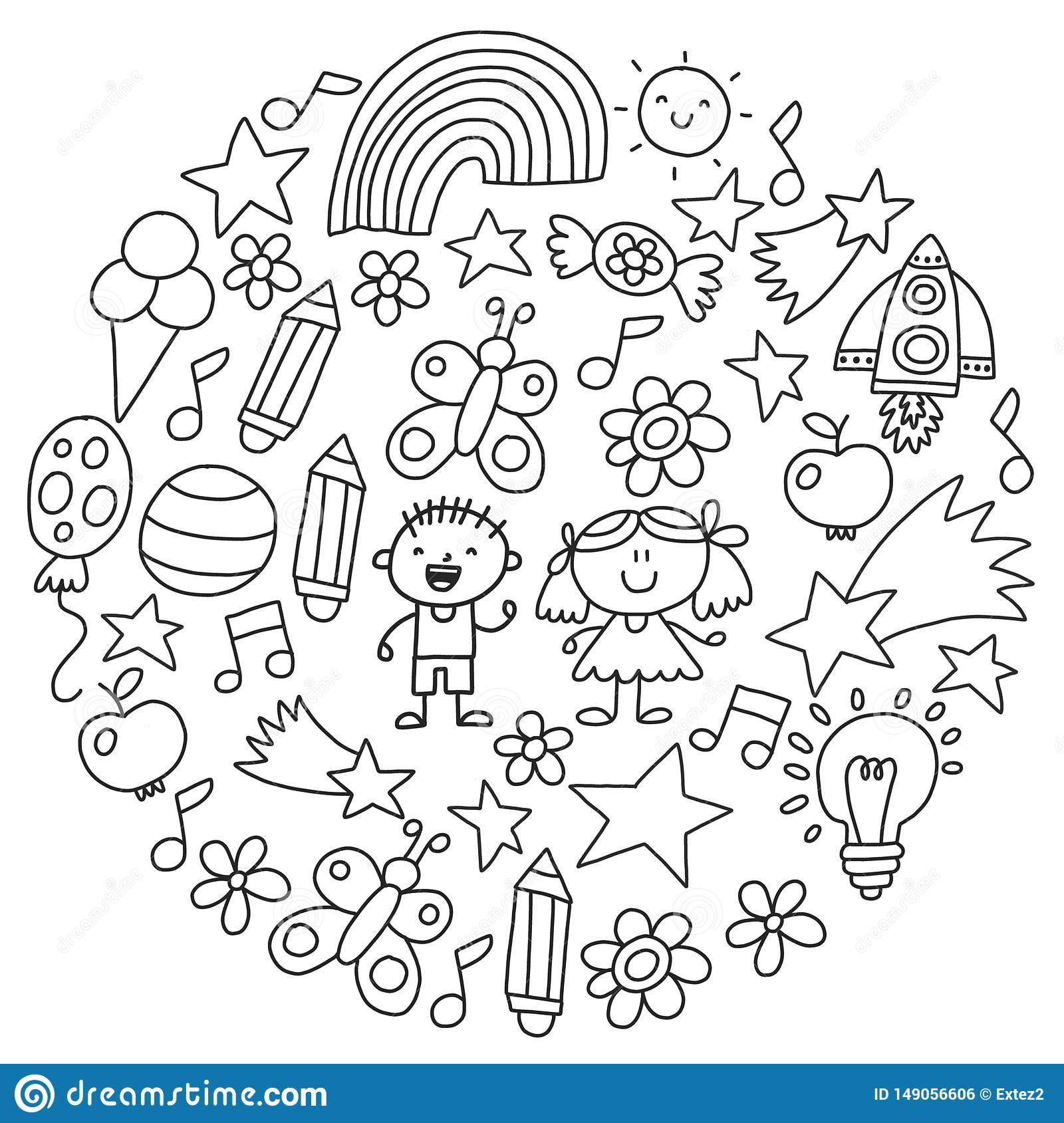 Kindergarten Monochrome Hand Drawn Children Garden