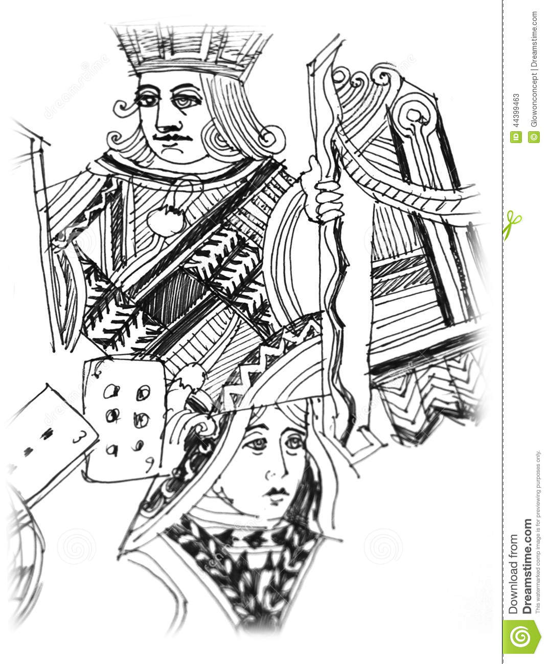 King And Queen Card Illustration Stock Illustration