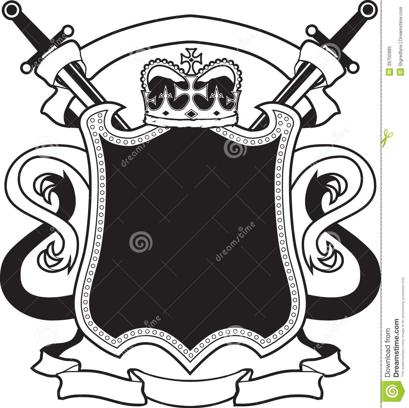 King S Crest Stock Vector Image Of Plaque Daggers White